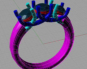 3D print model Trilogy Engagement Ring Anello trilogy TR30
