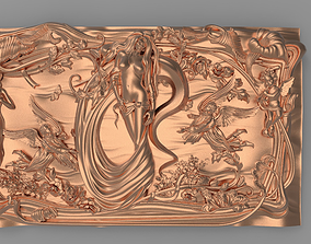 3D printable model Nude girl and blossom Bas relief