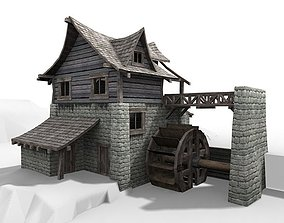 3D model Watermill exterior interior