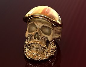 Gold Beard Skull Ring in a Cap 3D printable model
