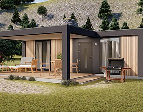modern mobile home tiny house vacation house on 3D model