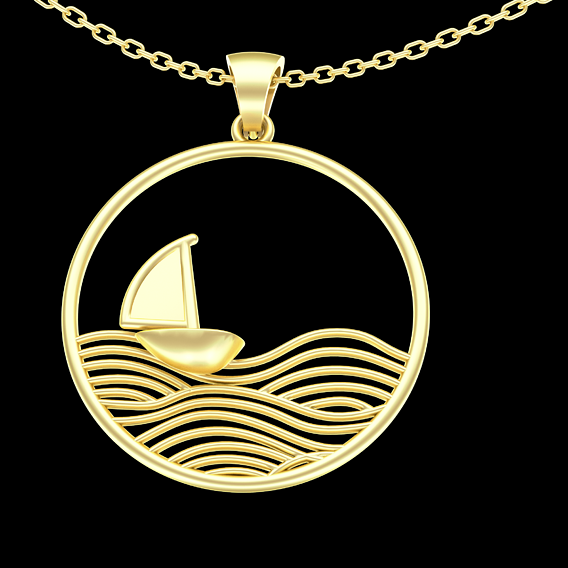 Waves and Boats Pendant jewelry Gold 3D print model
