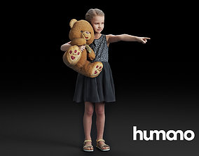 3D model Humano Pointing girl with a taddy bear 0503