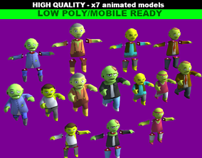 Zombies Cartoon Characters Pack 3D asset