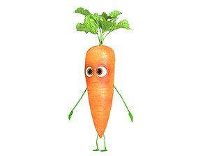 3D model rigged Carrot Character