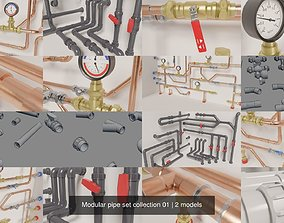 3D model Modular pipe set collection 01