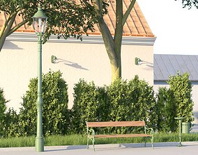 3D model vienna public park furniture set