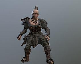 3D asset Dwarf Woman Warrior Low-poly