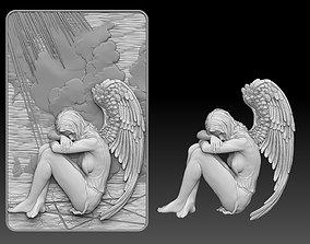 angel female Bas Relief 3D print model cnc religion