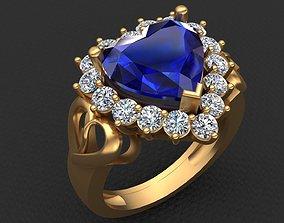 Heart Shape Sapphire Diamond Gold Ring 3D print model