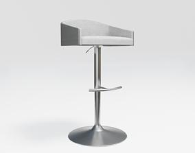 high bar stool - white fabric - light wood 3D asset