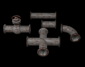 3D asset Industrial Pipes Pack PBR