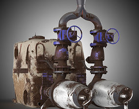 3D model Grundfos multilift MDV Pump Old Used with tank