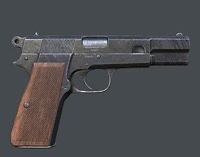 Lowpoly Browning Hi-Power Pistol 3D asset