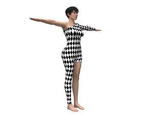 3D model female character with Harlequin clothing