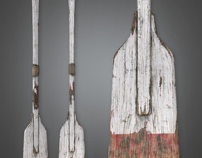 3D asset Wooden Painted Oar TLS - PBR Game