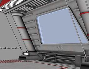 3D model Sci-fi Corridor window section 1