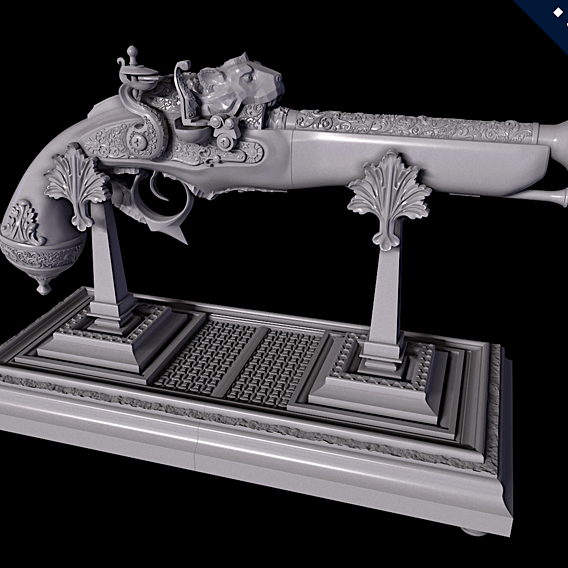 Flintlock Pistol & Pistol Display Stand (3D Printing)