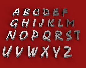 MISTRAL font uppercase and lowercase 3D letters STL file