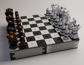3D Detailed Lego Chess Set with Checkers