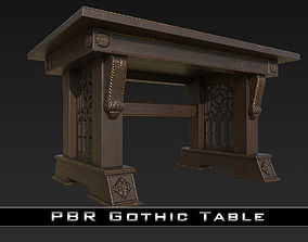 PBR Old Gothic Table 3D asset