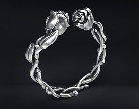 Wild Roses Ring silver 3D print model