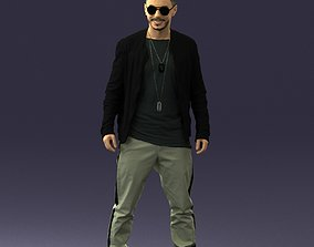 Cheerful man in glasses and jacket 0362 3D Print Ready