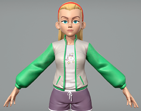 3D asset Cute cartoon teen