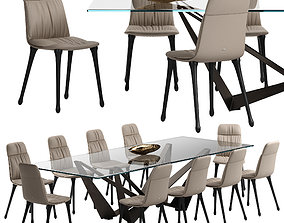 3D Cattelan italia Diana chair Skorpio table set
