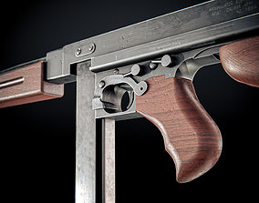 3D model animated M1A1 Submachine Gun