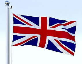 3D asset Anmated Great Britain Flag