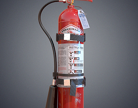 3D model low-poly PBR hose fire extinguisher