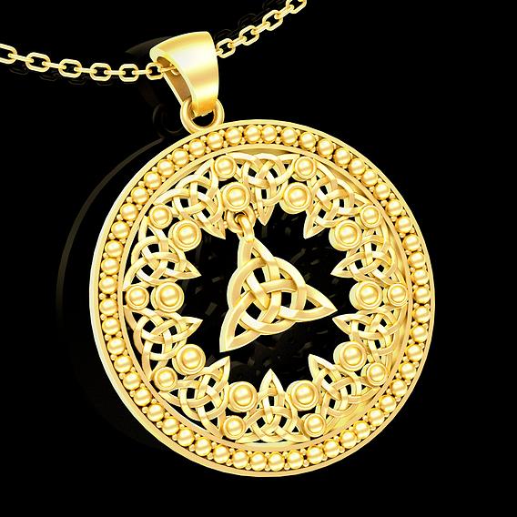 Celtic Medallion Pendant jewelry Gold 3D print model