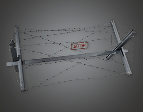 Barbed Wire Stop 01 - MLT - PBR Game Ready 3D model