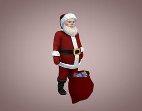 3D asset animated low-poly Santa Claus
