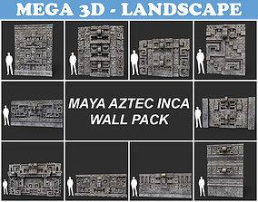 Low poly Mayan Inca Aztec Wall Modular Pack 3D asset
