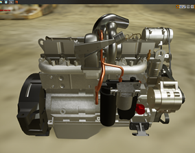 High Res Poly Engine Motor LODed 3D model low-poly