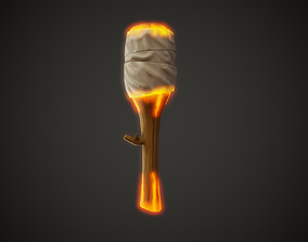 Stylized Torch - Tutorial Included 3D model
