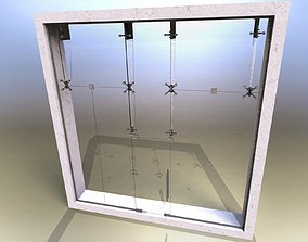 Glass partition with door and lock 3D