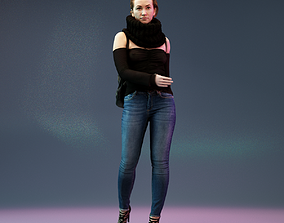 3D asset Girl Walking in Black Scarf Jeans and Backpack