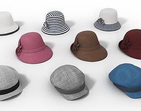 Set of Womens Hats 3D asset