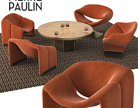 3D Pierre Paulin chairs - John Richard round brass