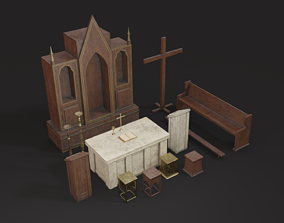 Old Church Props 3D model realtime