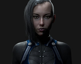 Hyper-realistic female head 3D asset
