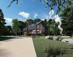 VR / AR ready modern barn house 3d model