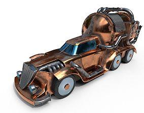 Car steampunk PBR low poly 3D model