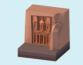 3D asset Cartoon Low Poly Petra Al Khazneh Temple