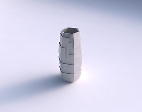 3D print model Vase hexagon with sharp ribbons