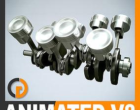 3D crankshaft Animated V8 Engine Cylinders