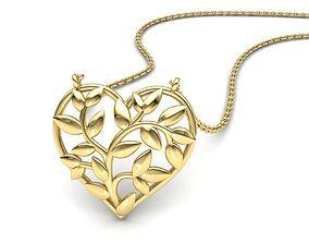 Heart Leaves Pendant 3d model 0244